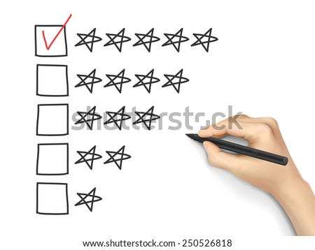 hand putting check mark with pen on five star rating - stock photo