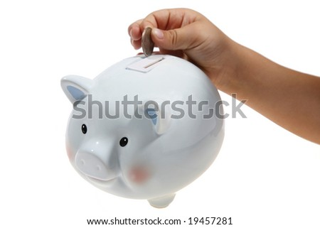 Hand putting money in piggy bank. - stock photo