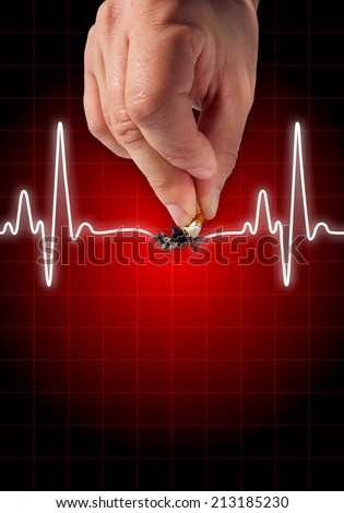 Hand putting out cigarette on heart beat line red background - Anti smoking concept - Health hazard - stock photo