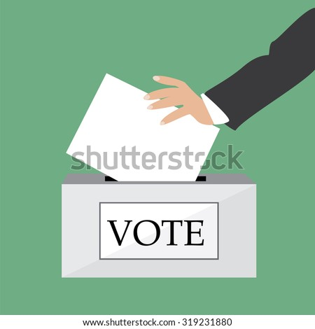 Hand putting voting paper in ballot box  illustration green background. Voting box. Voting concept - stock photo
