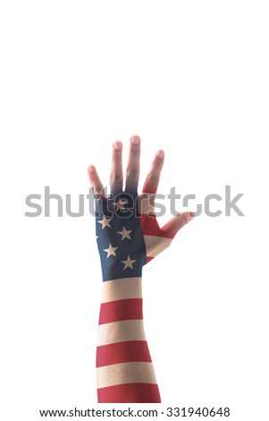Hand raising sign for vote campaign with American flag pattern texture isolated on white background: USA civil rights for voting/ US Election day/ constitution and citizenships day concept    - stock photo