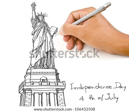 Hand rawing Statue of Liberty line  in USA for Independence Day, 4 th of July. - stock photo