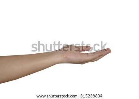 hand  Reach for grabs isolated on white background. - stock photo