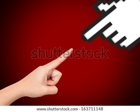 Hand reaching hand cursor of technology on red background. - stock photo