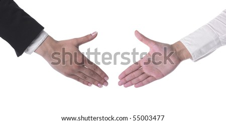 Hand Ready For Handshaking isolated on white background - stock photo