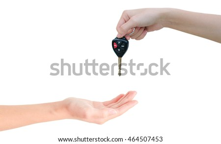 hand receive a car key isolated background