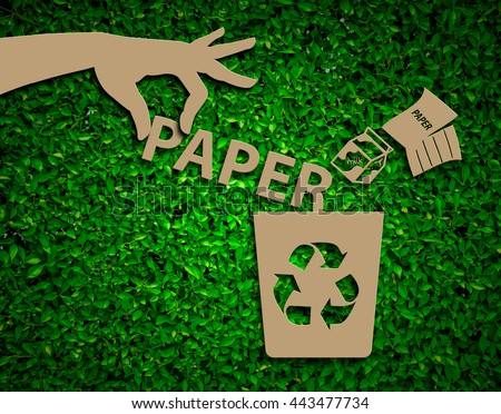 Hand recycle paper waste bins vector illustration, Waste types segregation recycling concept on paper craft die-cut.Green and Sustainable, vector grass blurred  - stock photo