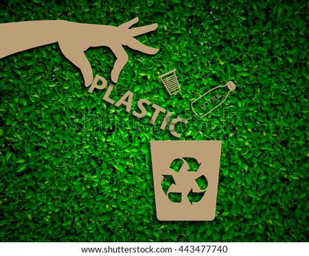 Hand recycle plastic waste bins vector illustration, Waste types segregation recycling concept on paper craft die-cut.Green and Sustainable, vector grass blurred  - stock photo
