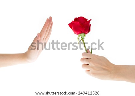 Hand Refused the gift, When hand of sender give flower to recipient that making hand signals to decline, isolated on white background