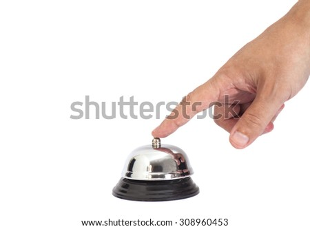 Hand ringing in service bell isolated on white