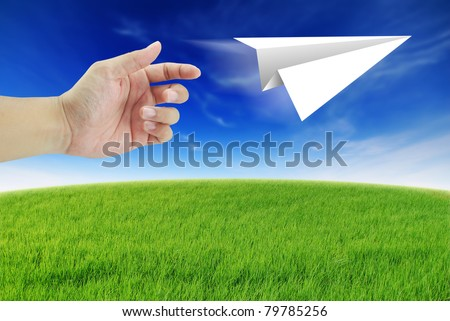 Hand rocket paper fold to success for design Aircraft paper