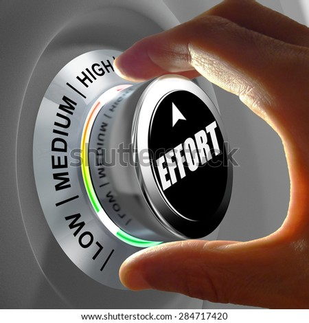 Hand rotating a button and selecting the level of effort. This concept illustration is a metaphor for choosing the level of effort in order to reach a goal.  - stock photo