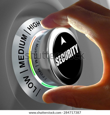Hand rotating a button and selecting the level of security. This concept illustration is a metaphor for choosing the level of security. Three levels are available: low, medium and high.