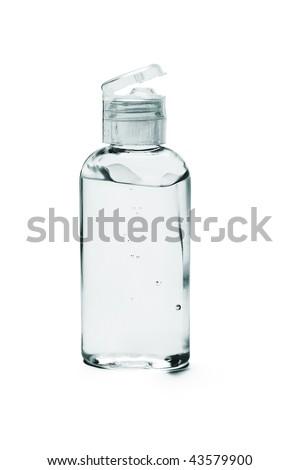 Hand sanitizer in plastic bottle on white background - stock photo