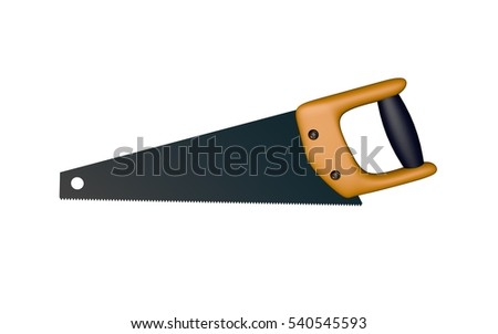 Hand saw. Isolated on white background.3D rendering illustration.