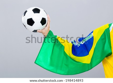 Hand Scratch With Football Brazil Flag