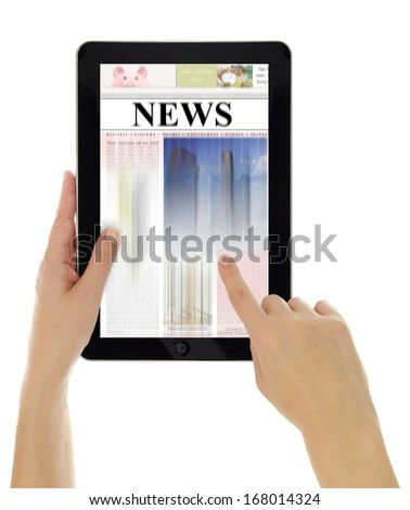 Hand scrolling digital news on tablet computer - stock photo