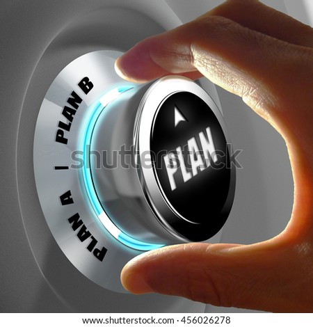 Hand selecting Plan A or Plan B. Concept of making a decision. 3D Rendering - stock photo