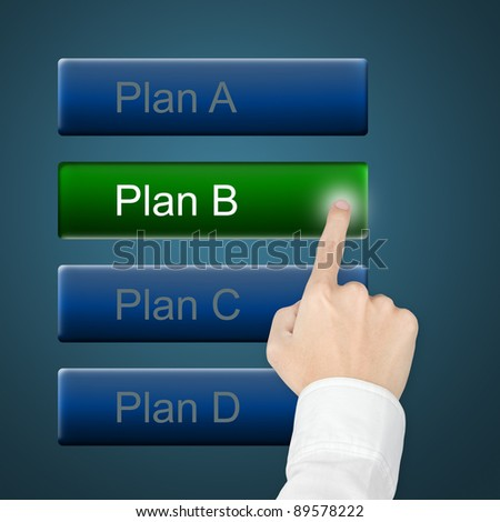 hand selecting plan by pushing touch screen button