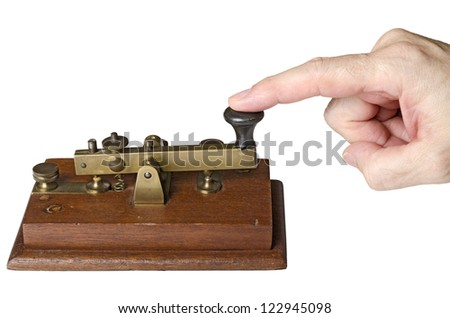 hand sending a telegraph message, isolated on white background - stock photo