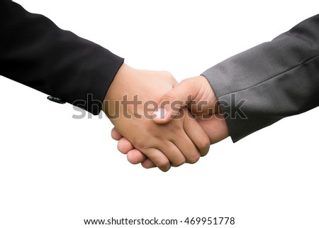 hand shake between a businessman and a businesswoman isolated on white.