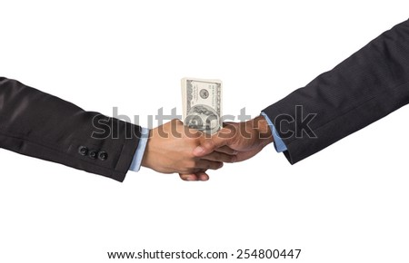 Hand shake between a businessman with dollar money on white background