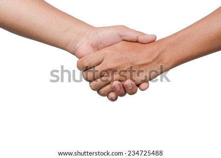 Hand shake between two man isolated on white - stock photo