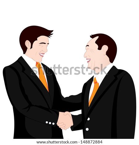 hand shake business on white background - stock photo