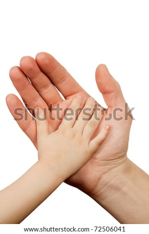 Hand shake of the child and father isolated - stock photo