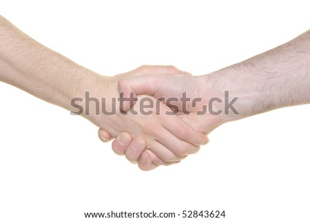 Hand shake on a 100% white background
