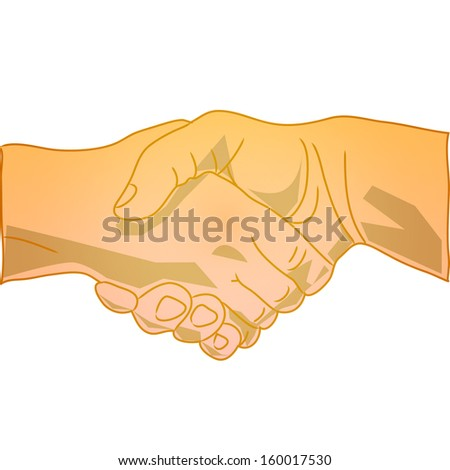 Hand shake, shaking hands symbol, sign, isolated on white background raster