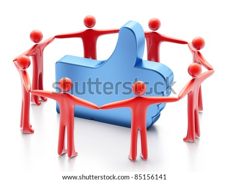 "Hand-shaped ""Like"" symbol and people around, 3d render on white background - stock photo"