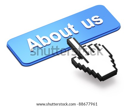 Hand-shaped mouse cursor press About Us button on white background