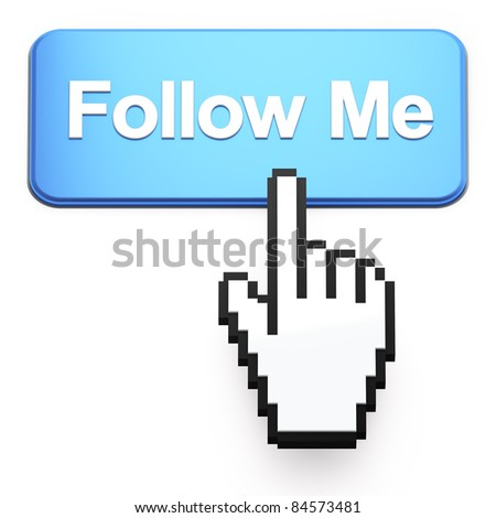 Hand-shaped mouse cursor press Follow Me button - stock photo