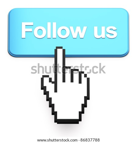 Hand-shaped mouse cursor press Follow Us button on white - stock photo