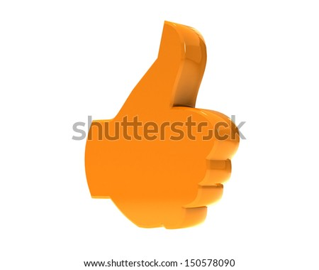 Hand Shaped mouse Cursor thumb up like good social media share 3d symbol icon button - stock photo