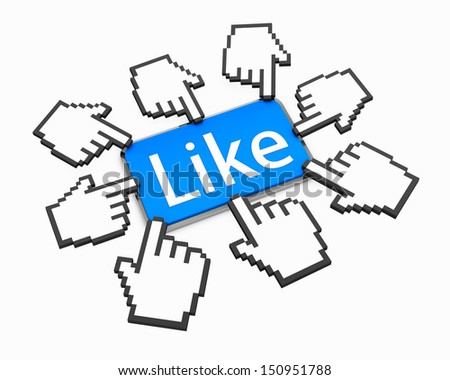 Hand Shaped mouse Cursor thumb up like good social media share 3d symbol icon button