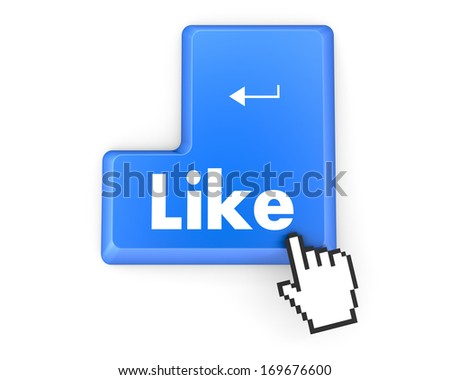 Hand Shaped mouse Cursor thumb up like man share good social media share 3d symbol icon button illustration - stock photo