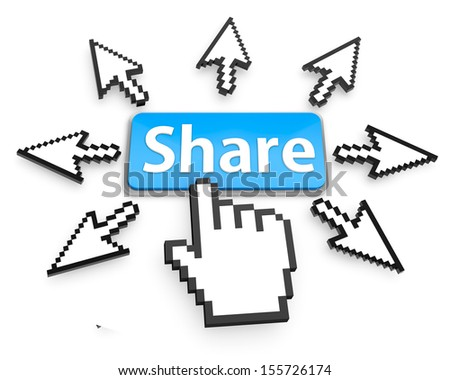 Hand Shaped mouse Cursor thumb up like man share good social media share 3d symbol icon button share - stock photo