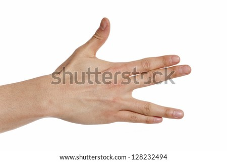 hand shoving a vulcan greeting sign  isolated on white background - stock photo