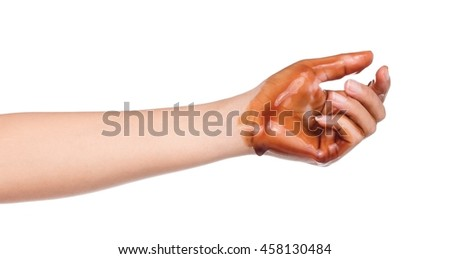 Hand show dirty with lubricator oil isolated On White Background - stock photo