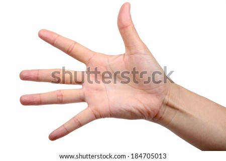 hand show five finger isolated on white background.