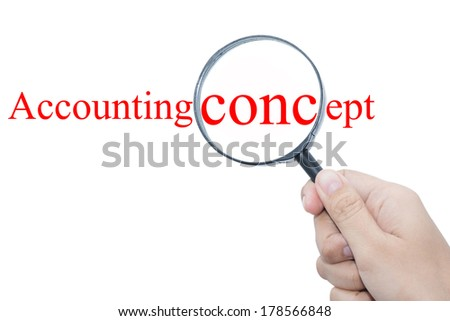 Hand Showing accounting concept Word Through Magnifying Glass  - stock photo