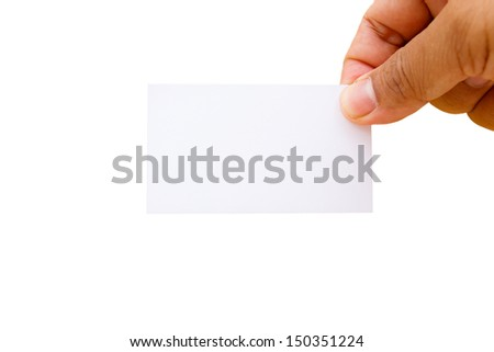 Hand showing blank namecard on white background - stock photo