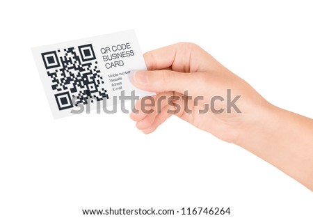 Hand showing business card with QR code information. Isolated on white. - stock photo