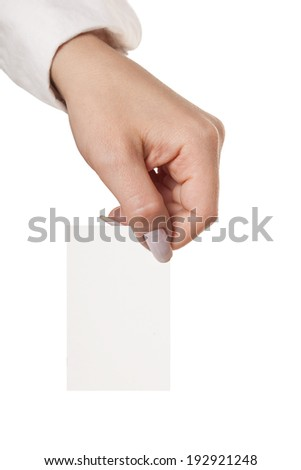 hand showing Card, isolated white background