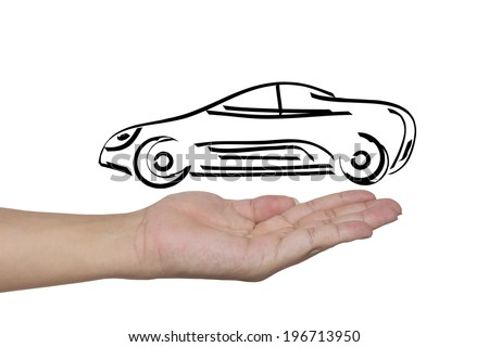 hand showing design sketch car as concept