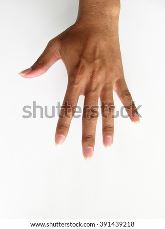 hand showing five count - stock photo