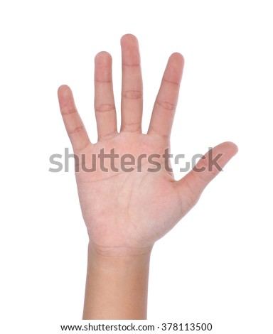 hand showing five count on white background
