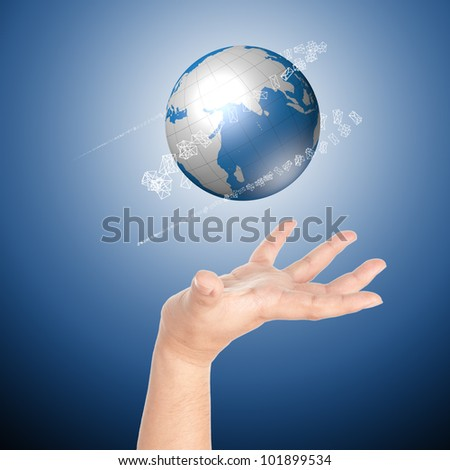 Hand showing glowing digital globe with incoming mail icons